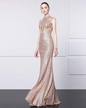 Etui Gala Weihnachts Abend Kleider Hochgeschlossene Luxus Elegante Champagner Pailletten Maxi Ärmellos