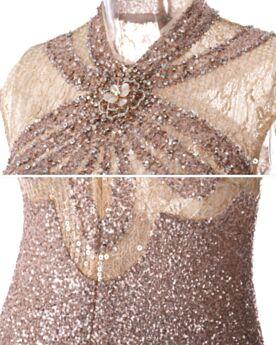 Paillette Sans Manches Élégant Luxe Col Haut Fourreau / Droite Printemps Robe De De Soirée Gala De Bal