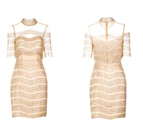 Short Gorgeous Sparkly Gold Glitter Backless Sheath Christmas Club Cocktail Dresses
