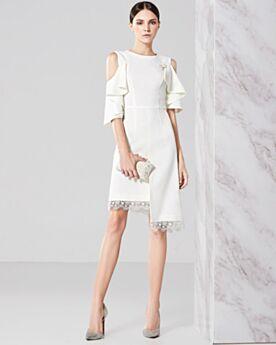 Short Asymmetrical Chiffon Chic Elegant White Ruffle Hollow Out Sweet 16 Wedding Guest Graduation Dress For Party