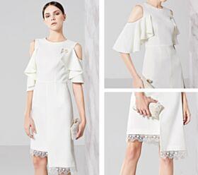 Halbe Hülse Schöne Elegante Rüschen Cut Out Sommer Weiß Asymmetrisches Kurze Hochzeitsgäste Jugendweihe Abschluss Kleider Für Festliche