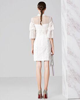Kurze Weiß Cocktail Konfirmations Abschluss Kleider Hochgeschlossene Glockenärmel Halbe Hülse Sexy Tüll Spitzen Etui
