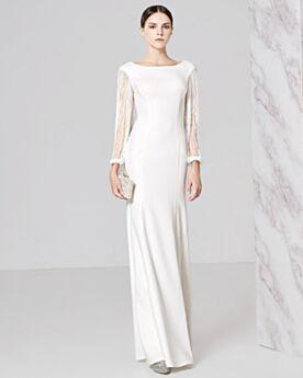 Lange Satin Ball Abend Kleider Für Festliche Etui Halbe Hülse Rundhalsausschnitt Elegante Weiß Perlen Rückenfreies