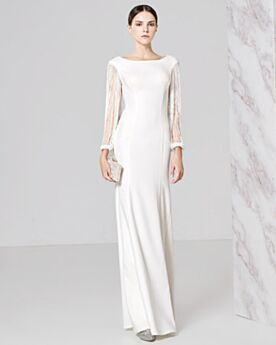 Prom Evening Dress For Occasions Charming Long Half Sleeve Beaded Open Back Sheath