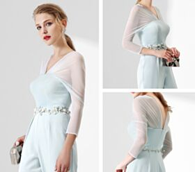 Satin Tulle Cigarette Deep V Neck Charming Red Carpet Evening Jumpsuits For Women Long Light Blue Dress Open Back Beilt Rhinestones Hollow Out Half Sleeve