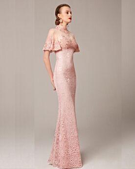 Abiti Da Sera Eleganti Abiti Da Ballo Peplum Dress Abiti Da Cerimonia Lunghi Rosa Cipria Maniche Corte Tubino Collo Alto