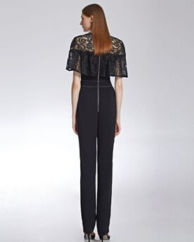 Satin Lace Formal Office Jumpsuits With Lace Flounce Beautiful Simple Cigarette High Waisted Black Scoop Neck Occasion Dress