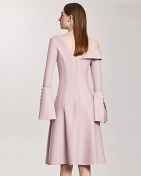 Bell Sleeve Long Sleeve Midi Shirt Asymmetrical Flounce Backless / Open Back Casual Work Dress Satin Elegant Cute Pink