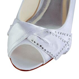 Kitten Heel Satin Heels Rhinestones 5 cm / 2 inch Bridal Bridesmaid Shoes White Peep Toe Pumps Stilettos