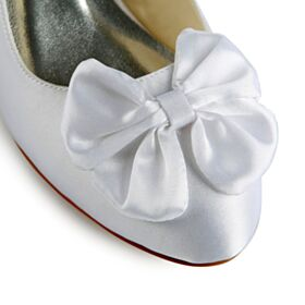 Bridesmaid Bridal Pumps Low / Kitten Heel White Bow Satin 5 cm / 2 inch Shoes Heels Stilettos