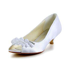 Peep Toe Blanche Talons Pumps Demoiselle D'honneur Mariée Aiguilles Satin Petit Chaussure À Volants Strass 5 cm / 2 inch