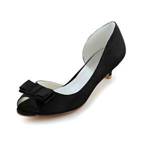 Stilettos Satin 5 cm / 2 inch Schwarz Brautjungfern Schuhe Pumps Peeptoes Highheels Schleife D orsay