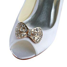 Peeptoes Braut Brautjungfern Schuhe Damen Highheels Stilettos 5 cm / 2 inch Schleife Pumps
