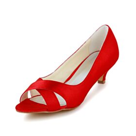 Peep Toe Low / Kitten Heels Spring Satin Red Hollow Out Bridesmaid Bridal Pumps 5 cm / 2 inch Stilettos