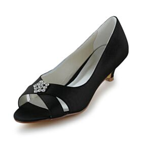 Satin Highheels Brautjungfern Schuhe Damen Schwarz Pumps Peeptoes Stilettos 5 cm / 2 inch Sommer