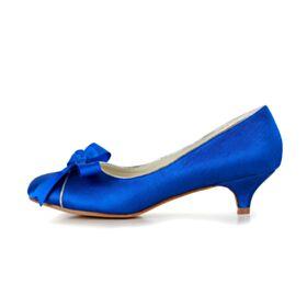 Chaussure Mariage Blue Roi Peep Toe Escarpins Satin Talons