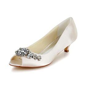 Satin Bridesmaid Pumps Peep Toe Spring Stilettos Wedding Shoes For Women Heels Low / Kitten Heels 5 cm / 2 inch Crystal
