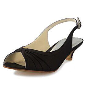 Bout Ouvert 5 cm / 2 inch Escarpins Demoiselle D'honneur Talons Petit Aiguilles Slingback Satin Chaussure Femme