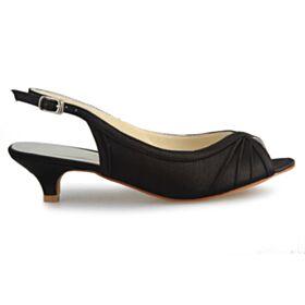 Negro Zapatos Tacones Peep Toe Stilettos De Satin Tacon De 5 cm Plisada