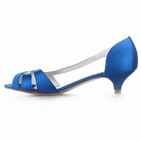 Kobaltblauwe Bruidsmeisjes Jurk Stiletto Peep Toe Kitten Heels Sandalen Trouwschoenen