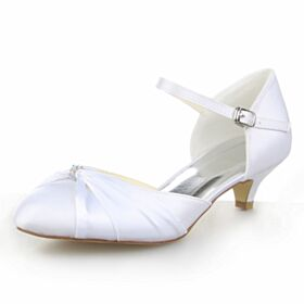 Rhinestones Ankle Strap 5 cm / 2 inch Satin Heels Bridal Bridesmaid Shoes Stiletto White Low Heel Pumps
