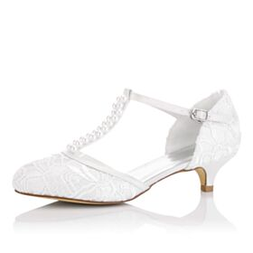 Lace Bridal Shoes Heels Sandals For Women 2 inch Stilettos Pointed Toe T Strap