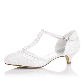 Zapatos Para Boda Blanco Tacon Medio 5 cm Stiletto Sandalias Con Perlas Con Encaje