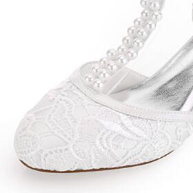 5 cm Tacco Medio Tacco A Spillo Scarpe Sposa Sandali Donna Con Perle Bianchi