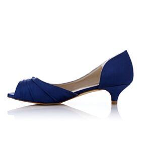 Bleu Roi Petit Peep Toe Pumps Demoiselle D'honneur Satin Aiguilles Volantée Chaussure Talons