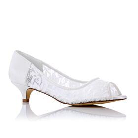 Peep Toe Witte Kitten Heels 2 inch Kanten Stiletto Trouwschoenen Pumps Zomer