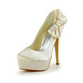 13 cm Braut Abend Pumps Schuhe Hochhackige Highheels Stilettos Schleife Ivory / Beige Satin
