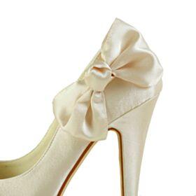 Decollete A Punta 13 cm Tacco Alto Tacco A Spillo Raso Champagne Platform Con Fiocco Scarpe Matrimonio