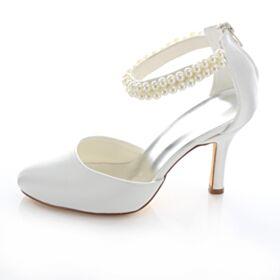 Sandali Scarpe Damigella Tacco Alto Tacchi A Spillo A Punta Cinturino Alla Caviglia Scarpe Da Sposa Raso Con Perle