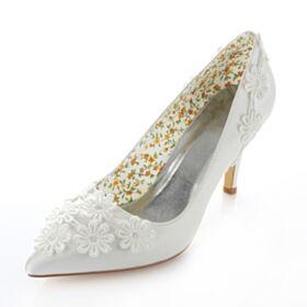 Satin Chaussure Demoiselle D'honneur Mariée 8 cm / 3 inch Escarpins Blanche 2017 Talons Talons Hauts Aiguilles
