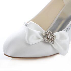 Aiguilles Chaussure Mariée Demoiselle D'honneur Escarpins Talon Mid Talons Noeud Strass 5 cm / 2 inch