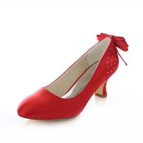 Zapatos De Boda Tacon De 6 cm Stilettos Zapatos Con Tacon Rojos De Satin Con Lazo