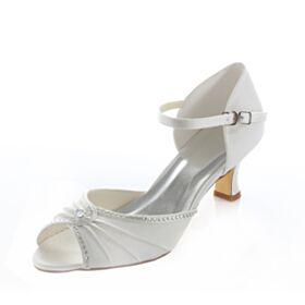 Sandales Femme Demoiselle D'honneur Mariée 5 cm / 2 inch Talons Aiguilles Satin Peep Toe D'été Blanche Strass Mary Jane