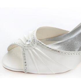 Tacon Medio Zapatos De Novia Stilettos Sandalias Strass Peep Toe