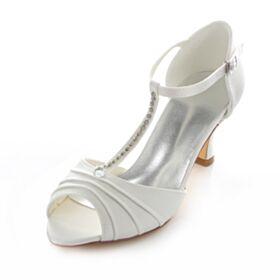 Tacco A Spillo Raso Tacco Medio Cinturino Alla Caviglia Sandali Scarpe Sposa Avorio Spuntate