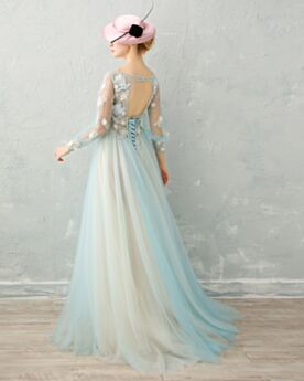 A line / Princess Tulle Luxury Sexy Long With Train Prom Dresses With Lace Open Back