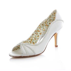 Pumps Bruidsschoenen Bruidsmeisjes Jurken Stiletto High Heels Peep Toe Satijnen Witte