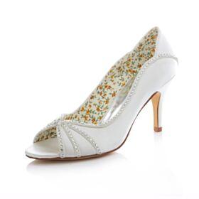 White Open Toe Heels High Heeled Stiletto Bridesmaid Bridal Pumps Spring Summer Satin 8 cm / 3 inch