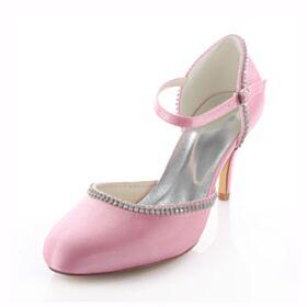 Zapatos Novia Tacon Alto Rosa Stiletto Sandalias En Punta Fina