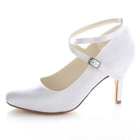 Wedding Bridesmaid Shoes High Heel Ankle Strap 8 cm / 3 inch White Pumps Stilettos Satin Heels