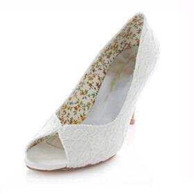 Encaje Peep Toe Zapatos De Boda 8 cm Tacon Alto Zapatos Tacones Stilettos