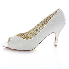 Escarpins Mariée Demoiselle D'honneur Dentelle Blanche Talon Haut 8 cm / 3 inch Talons Peep Toe Aiguilles Chaussure Femme