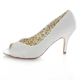 Witte Applique Bruidsschoenen Kanten High Heels Stiletto 8 cm Pumps