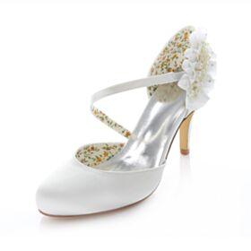 Aiguilles Talons Sandales Mariée Demoiselle D'honneur Blanche Satin Chaussure Femme Volantée Perle Mary Jane 8 cm / 3 inch Haut Escarpins Pointu