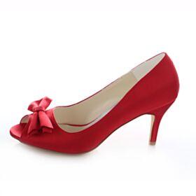 D'été Pumps Demoiselle D'honneur Mariée Talons Bout Ouvert Noeud Chaussure Rouge 8 cm / 3 inch Talon Haut Aiguilles
