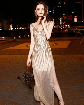 Homecoming Christmas Formal Dresses Elegant Sparkly Sleeveless Sheath Long Spring Sequin Tulle
